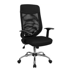 Flash Furniture - Flash Furniture High Back Mesh Office Chair with Mesh Fabric Seat - Flash Furniture - Office Chairs - LFW952GG - This value priced mesh office task chair will accommodate your essential needs for your home or office. Chair features a breathable mesh back with a comfortably padded mesh fabric seat. Chair is height adjustable to conform to several desk sizes. [LF-W952-GG]