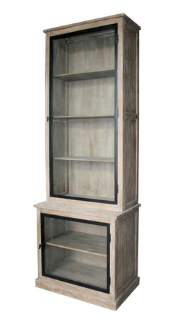 Kathy Kuo Home - Eastlake French Country Solid Oak Gray Wash Curio Cabinet - Impressive contemporary cabinet with ample shelving provides storage and style for the discerning interior design aficionado.  The dramatic limed grey finish gives a warmer feel to the Scandinavian-inspired clean lines and sharp edges of this large statement piece.