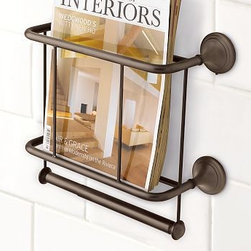 """Mercer Magazine Rack & Paper Holder, Antique Bronze finish - With room for oversized magazines and two rolls of paper, our Mercer Magazine Rack & Paper Holder is a bath essential.13"""" wide x 5.5"""" deep x 12"""" highCrafted of drop-forged brass, thickly plated for strength.Sealed with a clear protective lacquer.Mounting hardware included. View our {{link path='pages/popups/fb-bath.html' class='popup' width='480' height='300'}}Furniture Brochure{{/link}}."""