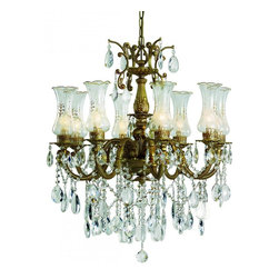 Joshua Marshal - Eight Light Copper Frosted Etched Crystal Glass Up Chandelier - Eight Light Copper Frosted Etched Crystal Glass Up Chandelier