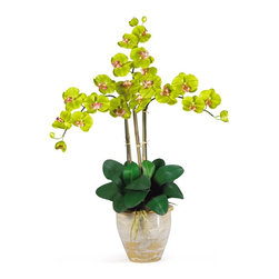 """Nearly Natural - Triple Phalaenopsis Silk Orchid Flower Arrang - Not for outdoor use. Boasting three beautiful stems with 6 flowers each. Lush green natural looking leaves. Beautifully stylish ceramic pot. Included container size: 8.5 in. W X 7 in. H23 in. W X 23 in. D X 27 in. H (8lbs). Looking for the perfect orchid with absolutely no maintenance? The 27"""" triple stem phalaenopsis is a classic orchid to be enjoyed by all, even the most discriminating customer. Each silk plant comes with three beautiful phalaenopsis stems each with 6 flowers and 2 buds. Finished with a gorgeous glazed ceramic vase designed to coordinate with any decor, this beauty will bring color and life into any space."""