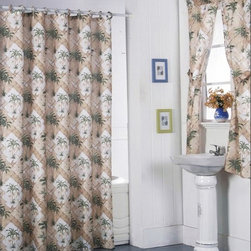 None - California Palm Shower Curtain Set and 4-piece Window Set - This bathroom curtain set makes it easy to coordinate your shower curtain and window coverings. The fun palm pattern brings to mind tropical breezes and island adventures,and the set comes complete with shower curtain lining and shower rings.