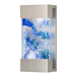 Fine Art Lamps - Crystal Bakehouse Cobalt & Aqua Crystal Sconce, 810850-22ST - Get the blues — in a good way! — with this art glass sconce. A hand-crafted, polished block of cobalt and aqua crystal shards sits in a sleek frame to shed light and color in your favorite setting, indoors or out.