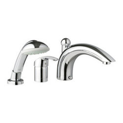 """Grohe - Grohe 32 644 EN1 Eurosmart Roman Tub Filler with Personal Hand Shower, Infinity - Grohe 32 644 EN1 Eurosmart Roman Tub Filler with Personal Hand Shower, Infinity Brushed Nickel Add the finishing touch to your bathing space with one of Grohe spectacular faucet designs. Modern or traditional, a GROHE faucet will be the talking point of your bathroom. Grohe 32 644 EN1 Eurosmart Roman Tub Filler with Personal Hand Shower, Infinity Brushed Nickel Features: Single Handle Control GROHE SilkMove Ceramic Cartridge Tempesta Trio Hand Shower 8 1/2"""" Diverter Spout Also Known As Grohe: 32644EN1 * Image shown may vary by color, finish, or material"""