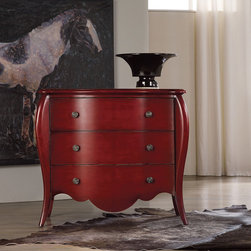 Frontgate - Martha Three-drawer Chest - Crafted of hardwood solids and birch veneers. Caliente red finish. Three storage drawers. The drama builds on the Martha Three-drawer Chest. Starting with a spicy red finish, touches like splayed legs, scalloped base, and wallpaper lined drawers add up to a furnishing that garners attention in any room. . . .