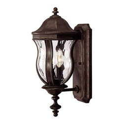 Savoy House - Savoy House Monticello Outdoor Wall Mount Light Fixture in Walnut - Shown in picture: Designed by Karyl Pierce Paxton; A celebrated Savoy House family finished in Walnut Patina with Clear Watered glass