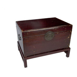 Zhejiang Antique Trunk - This Zhejiang antique trunk and stand makes a fabulous coffee or side table. Use it in the living room to tuck away those winters throws until you need them!