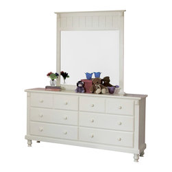 Homelegance - Homelegance Pottery Dresser with Mirror in White - White sand-through cottage collection makes for a great retreat look. This old-world charm collection is styled for today's buyer.