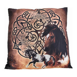 Zeckos - Celtic Horse by Brigid Ashwood 14 in. x 14 in. Throw Pillow - This satin throw pillow features a large Celtic knot design on a golden, tan background with a wild brown horse. The pillow measures 14 inches by 14 inches, the cover has a zipper on the back for easy removal for washing, and the pillow insert is 100% polyester. It's a pretty accent to add to your couch or your bed, and makes a great gift for equestrian enthusiasts. Artwork licensed by Brigid Ashwood.