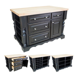 Hardware Resources - Kitchen Islands - Shown and priced with optional hard maple butcher block top (ISL01-TOP), but can be ordered without if you're looking to match your kitchen's counter material.  Shown with optional wine racks.