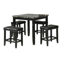 """Acme - 5 PC Ainsley II Square Faux Marble Black Finish Counter Height Dining Table Set - 5-Piece Ainsley II square faux marble black finish wood counter height dining table set. This set features a square top with faux marble and leather like upholstered seat cushions. Table measures 36"""" x 36"""" x 36"""" H. stools measure 24"""" H to the seat. Some assembly required."""
