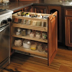 Getting Organized with Fieldstone Cabinetry - Pull out spice rack or mini pantry