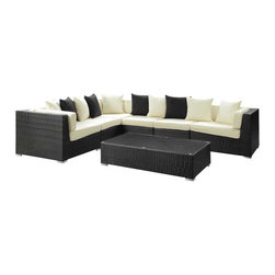 Modway - Lambid 7 Piece Sectional Set in Espresso White - Plumb the depths to stimulate the creative faculties. Decipher the enigmatic and perfect awareness will emerge. Lambid's spaciousness will unravel riddles and enhance the senses while you correctly demonstrate the ability to imagine.