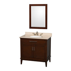 Wyndham Collection - 36 in. Eco-Friendly Bathroom Vanity in Dark Chestnut Finish - Includes ivory marble countertop with backsplash and undermount oval sink. Faucet not included. Two functional doors. Transitional style. 8 in. widespread three hole faucet mount. 12 stage wood preparation, sanding, painting and hand-finishing process. Highly water-resistant low V.O.C. sealed finish. Practical floor-standing design. Deep doweled drawers. Fully-extending under-mount soft-close drawer slides. Concealed soft-close door hinges. Single faucet hole mount. Plenty of storage and counter space. Metal exterior hardware with brushed chrome finish. Engineered to prevent warping and last a lifetime. Made from zero emissions solid birch hardwood. Vanity: 35 in. W x 21.5 in. D x 34.25 in. H. Vanity with Countertop: 36 in. W x 22 in. D x 35 in. H. Countertop: 36 in. W x 22 in. D x 0.75 in. H. Backsplash: 60 in. W x 0.75 in. D x 3 in. H. Warranty. Care Instructions. Counter Handling Instructions. Installation InstructionsBring a feeling of texture and depth to your bath with the gorgeous Hatton vanity series. A contemporary classic for the most discerning of customers. The Wyndham Collection is an entirely unique and innovative bath line. Sure to inspire imitators, the original Wyndham Collection sets new standards for design and construction.