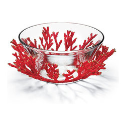Frontgate - Kim Seybert Orange Bead Bowl - Made from durable melamine; servers and bowl made from impact-resistant acrylic. Hand wash beverage dispenser; all others, top-rack dishwasher safe. Pair with our Coral Acrylic Drinkware. Also coordinates with our entire Kim Seybert Collection. The coral hue of the Kim Seybert Coral Serveware brings the taste of the tropics right to your backyard or beach house. This stylish collection features a beautiful coral accent.. .  . .