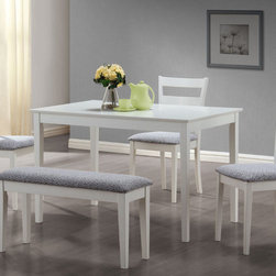 Monarch - White 5Pcs Dining Set With A Bench And 3 Side Chairs - This casual dining set is the perfect solution for small kitchens or dining spaces. The sleek rectangular dining table features tapered square legs that adds a modern appeal. The side chairs have horizontal curved back slats and are upholstered in a padded two tone material. Not only is the bench ideal for small spaces, it concludes the unique and trendy look of this dining ensemble. Finished in a crisp white, this cool contemporary five piece dinning set is a great addition to any home or apartment.