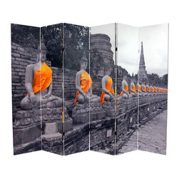 Oriental Furniture - 6 ft. Tall Double Sided Golden Buddhas Room Divider - This six panel screen features sharp black and white compositions of Buddha statues adorned with festive sashes, colorized a brilliant saffron orange. These peaceful, beautiful images will add a serene decorative accent to your living room, bedroom, dining or kitchen. This room divider has different images on each side, as shown.