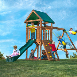 High Flyer Cedar Swing Set - Hand-selected from one of nature's most resilient species of wood, our line of cedar swingsets are full of safety and quality features you can't find in the big box stores. As parents ourselves, we understand how important safety is during play. That is why we use thick deck boards and deck supports to handle continuous play year after year. The quality cedar construction is completely resistant to rot, decay and insects. To eliminate unnecessary cuts and scrapes, all corners are rounded and we use recessed bolts and hardware. Last on our safety checklist is our plastisol coated swing chains which provide plenty of pinch-free grip for swinging.