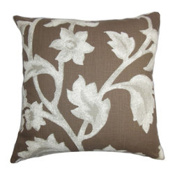 """The Pillow Collection - Taina Floral Pillow Brown 18"""" x 18"""" - This throw pillow is pretty and suits various decor styles. This square pillow looks great when placed on top of the sofa, couch or seat. The 18"""" pillow features a floral pattern in shades of gray printed against a cocoa brown fabric. This accent pillow is 100% cotton-made which is easy to clean and maintain. Mix and match with solids and other patterns for an unconventional twist. Hidden zipper closure for easy cover removal.  Knife edge finish on all four sides.  Reversible pillow with the same fabric on the back side.  Spot cleaning suggested."""