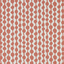 Persimmon and Off White Circle Striped Linen Look Upholstery Fabric By The Yard - This contemporary fabric is an excellent choice for all indoor upholstery! In addition to looking like linen, this material is woven for enhanced appearance and durability.