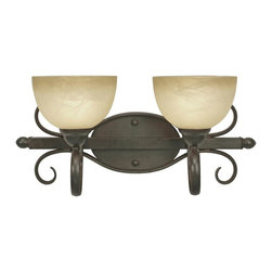 Golden Lighting - Riverton PC 2-Light Bath Fixture in Peppercone - Bulbs not included. Traditional style. Requires two 100 watt medium incandescent Type A bulbs. Sophisticated wide linen swirl glass shade. Can be mounted with the glass facing up or down. Oval arm shape. Provides a well diffused light over a vanity or mirror for grooming. Black and white wire gage. Two E27 type sockets in porcelain white. Electric wire gage: 3321 18# 150 degree C. Maximum wattage: 100W. Total wattage: 200W. UL and CUL certified. UL listed damp location for use in bathroom or under an eave. Made from metal and glass. Dark bronze color. Wire length: 8 in.. Fixture extension: 9.25 in.. Backplate extension: 0.75 in.. Backplate: 8 in. W x 5.37 in. H. Glass: 7 in. Dia. x 4.25 in. H. Overall: 20.5 in. W x 10 in. H (7.28 lbs.). Assembly Instructions. Warranty