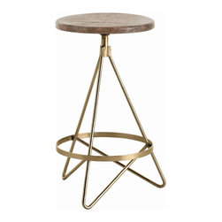 Arteriors - Wyndham Counter Stool - Bar stool with tube shaped triangular iron legs in vintage brass finish with round wooden swivel seat in distressed wax finish.