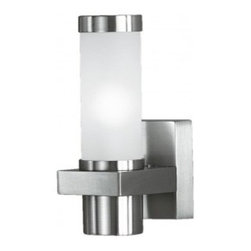 Eglo - Konya Outdoor Wall Light - Konya 1 Light Outdoor Wall Light in Matte Nickel Finish with Stainless Steel Base and Opal Frosted Glass