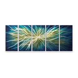 Matthew's Art Gallery - Metal Wall Art Abstract Modern New Blue Electric Shock - Name: Blue Electric Shock