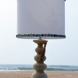 Products You'll Find at Sea Green Designs - Hand made in the USA. Table lamp is wrapped in jute and adorned with seashells. Shannon Willey
