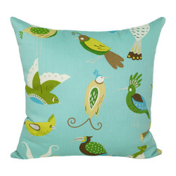 Land of Pillows - Waverly For the Birds Throw Pillow, Meadow - Fabric Designer - Waverly