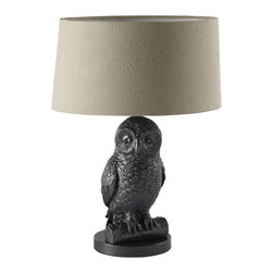 Owl Table Lamp, Gunmetal/Natural - This wise lamp is always a great choice to add a bit of whimsy to any room.