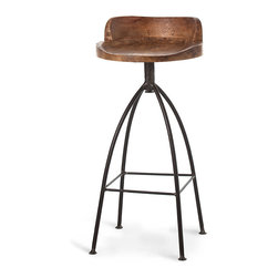 Hinkley Barstool - With a decidedly half rustic, half vintage appeal merged with an industrial feel, the Hinkley Barstool fits with so many great looks and styles.  A swivel wood seat with a natural wax finish contrasts beautifully with tall iron legs in a simple but beautiful design aesthetic that turns heads and makes for envious house guests.