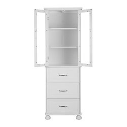 Elegant Home Fashions - Louis Full-Height Storage with 2 Tempered Doors and 3 Drawers - The Louis Linen Tower from Elegant Home Fashions in white has an elegant crown molded top and flat ball feet.  The piece has two doors with tempered glass on top and 3 drawers on the bottom that offer ample storage and add style to your bathroom. The beautiful flat ball feet and crown molding offer architectural elegance. It is also has a fixed shelf and one adjustable shelf on top to add functionality.  The metal glider drawer allows for easy open and close operation. The chrome finished door pulls add fashion and elegance to the piece. This cabinet comes with assembly hardware.