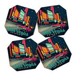 DENY Designs - Anderson Design Group Las Vegas Coaster Set, 4 Coasters - Say goodbye to water rings on your furniture and hello to the stylish solution: DENY Designs Coaster Set. Available in a set of four, you can also opt for the coaster tray to house the set or go the a la carte route. Either way, your glasses are going to get a fun drinking companion! Custom made in the USA for every order.