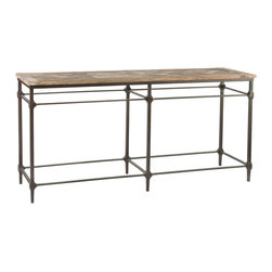 "Kathy Kuo Home - Mattix French Country Reclaimed Wood 71"" Console Table - Versailles pattern top is heavily textured and is not sealed. This product is made from 90% recycled wood. Chips, splits, cracks and unevenness should be expected. You should expect a raised texture finish. A clear coat of wax or oiling is recommend but will darken the color of the top slightly. It is recommended that you test the underside for how the wood will take your specific product of choice"