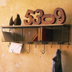 Wire Mesh Cubby Shelf - Perfect for your entryway or mudroom, this wire mesh industrial cubby shelf features hooks for jackets and keys and an antiqued white wooden top to store larger items.