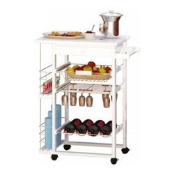 Nordic Rolling Bar Cart with Wine Racks - The Nordic Rolling Bar Cart with Wine Racks is a great little bar cart for entertaining or easy mobility for room to room use. Classy enough to use as a display cart. Features locking caster wheels a wire shelf basket and side racks for all your kitchen or bar items. 1 utility drawer to keep small items handy. A built in stemware rack and wine bottle rack. A solid wood counter top. MDF and pine wood construction with a bright white finish. Side towel bar. Cart dimensions: 22.5L x 14.5W x 32H inches.