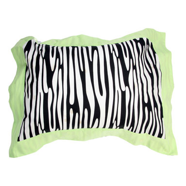 "Jazzie Jungle Boy - Standard Pillow Sham - Jazzie Jungle standard flanged sham is designed using our ""Zebra"" fabric and framed in the collections green.  Both cotton print fabrics."