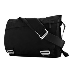 BlueLounge - Bonobo Messenger Bag - Don't shoot the messenger, but your old bag could use an update. This go-with-anything black bag features sustainability and style, made of recycled plastic and sleek brushed aluminum buckles in a hip messenger shape. And it holds all your essentials, including up to a 17-inch laptop.