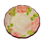 Scalloped Hand-Painted Rose Dinner Plate