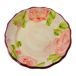 Vita Casalinga - Scalloped Hand-Painted Rose Dinner Plate - Roses are woody perennial flowers with soft petals, a symbol of love and elegance. Decorate your dinner table with a set of these scalloped hand-painted Italian dinner plates sporting the radiant rose design and maybe pour a special bottle of Rosé wine to accompany your dinner creation.