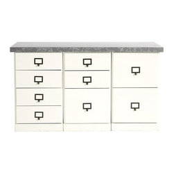 """Ballard Designs - Original Home Office 3-Cabinet Credenzas with Zinc Top - Generous 49 1/2""""W work surface. File Storage Cabinets have full-extension glides. Open Storage Cabinets have coordinating basket options (sold separately). Crafted with solid wood frames & fine veneers. Swatches available. We invented the modular Original Home Office to give you total design flexibility. Each piece works with every other, so you can create an office that works perfectly for you. To customize your Credenza, choose any three cabinets from seven versatile options. Select a wood top to match your cabinet finish or zinc top with your choice of cabinet finish. Adjust the working height by adding an optional Plinth Base. Add a Small Open Base or 3-Drawer Hutch (see Hutches) to create vertical storage above. Finished on three visible sides and designed to stand against the wall. See all your options below. 3-Cabinet Credenza features: . .  . . . Download free Design Guide above. Download free drawer label templates above."""