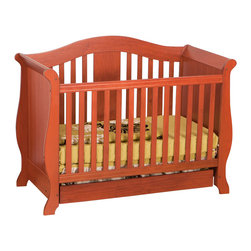 Stork Craft - Stork Craft Vittoria 3-in-1 Fixed Side Convertible Crib in Cognac - Stork Craft - Cribs - 0458722C - The Vittoria 3 in 1 Fixed Side Convertible Crib by Stork Craft offers a classic sleigh design that adds a rich sophistication to the nursery.The extra large bottom drawer allows for ample storage of your child's most precious belongings. It has a well built construction made of attractive solid wood and wood products offered in a variety of beautiful non toxic durable finishes. This crib is not only gorgeous but it is versatile; converting from a standard crib to a daybed and ultimately to a full-size bed complete with headboard and footboard (full size bed rails not included). Set-up this extravagant Vittoria Fixed Side Convertible Crib effortlessly with it's easy to follow directions and extra sturdy stationary side rails. Complete your nursery look by adding complimentary accessories by Stork Craft: a changing table chest dresser or glider and ottoman.