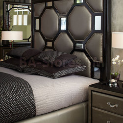After Eight Upholstered Headboard in Black Onyx by Michael Amini -