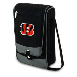 """Picnic Time - Cincinnati Bengals Barossa Wine Tote in Black - The Barossa is so sleek and sophisticated, you'll want to take it with you every chance you get. It's made of 600D polyester and features an adjustable shoulder strap that makes it easy to carry and a flat zippered pocket on the exterior flap. The Barossa is fully insulated to keep your wine the perfect temperature and has a divided interior compartment to separate your bottle of wine from the 2 (8 oz.) acrylic wine glasses included. Also included are: 1 stainless steel waiter style corkscrew, 1 bottle stopper (nickel-plated), and 2 napkins (100% cotton, 14 x 14"""", Black with silver pinstripe). The Barossa wine tote is perfect for picnics, concerts, or travel and makes a wonderful gift for those who enjoy wine.; Decoration: Digital Print; Includes: 5 stainless steel waiter style corkscrew, 1 bottle stopper (nickel-plated), and 2 napkins (100% cotton, 14 x 14"""", Black with silver pinstripe)"""