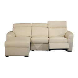 Beverly Hills Furniture Inc. - Mica Sectional Sofa with Recliner in Beige, Left Chaise - Buttery soft top grain Leather with matching vinyl on side and back. Reinforced corner blocks for added strength. Interwoven webbed base with sinuous spring suspension. Pocket coil core with high density foam seating. Molded high density foam back and headrest.