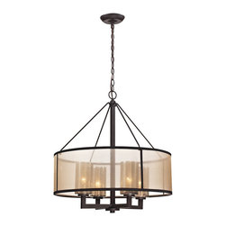ELK - ELK 57027/4 Chandelier - The centerpiece of this collection is the antique charm of mercury glass that is  modernized through a softly diffusing beige organza drum shade.  The clean and simplistic Oil Rubbed Bronze finished metalwork supplies a striking contrast to the lighter colored shades.