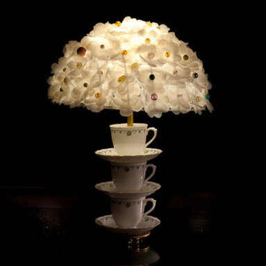 Eco Friendly Furnture and Lighting - Lamp handmade from upcycled traditional english bone china teacups. Shade handmade using beads and plastic milkbottles.