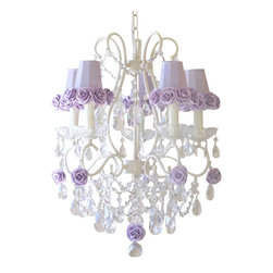 5 Light Lavender Rose Crystal Chandelier - This lovely vintage-inspired 5-light chandelier has been painted a beautiful antique white and adorned with gorgeous Dupioni Silk Lavender shades, trimmed with sweet Mulberry paper roses. Fancy-cut Glass Bobeches, plenty of crystal teardrop prisms and layers of crystal chain swags add loads of glam and sparkle!  Truly lush and undeniably romantic... This chandelier is simply dreamy!