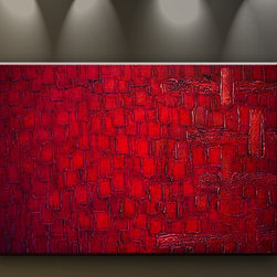Matthew's Art Gallery - Oil Painting Abstract Modern Art on Canvas Handmade Red Squares - The Painting:  Red Squares